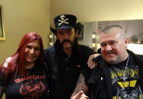 Scott and April of Asylum Records with Lemmy of Motorhead 04/23/14